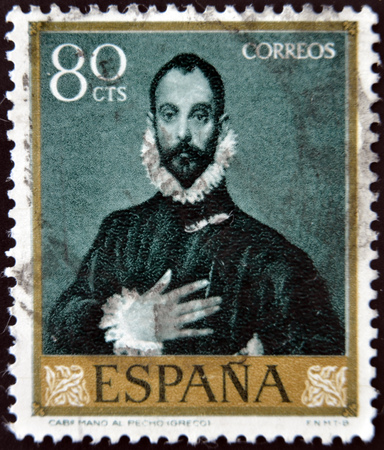 greco: SPAIN - CIRCA 1961: A stamp printed in Spain shows Nobleman with his Hand on his Chest by Greco, circa 1961  Editorial