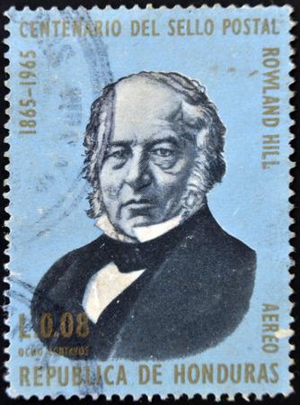 HONDURAS - CIRCA 1965: A stamp printed in Honduras shows Sir Rowland Hill, circa 1965 Stock Photo - 26115663