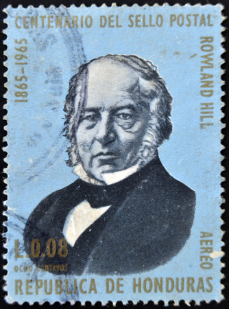 HONDURAS - CIRCA 1965: A stamp printed in Honduras shows Sir Rowland Hill, circa 1965 Stock Photo - 26115663