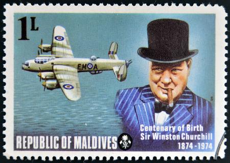 minister of war: MALDIVES - CIRCA 1974: A stamp printed in Maldives dedicated to centenary of birth Sir Winston Churchill, circa 1974 Editorial