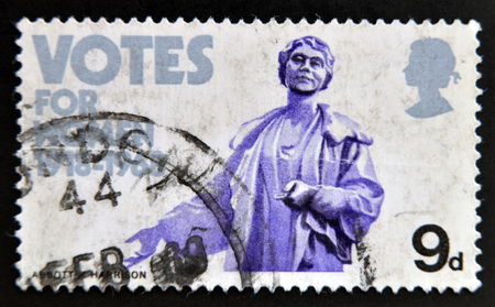 granting: UNITED KINGDOM - CIRCA 1968: A stamp printed in Great Britain dedicated to Granting of votes to women shows Mrs. Emmeline Pankhurst (statue), circa 1968.  Editorial