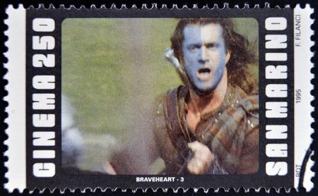 SAN MARINO - CIRCA 1995: A stamp printed in San Marino shows scene from the movie Braveheart, circa 1995