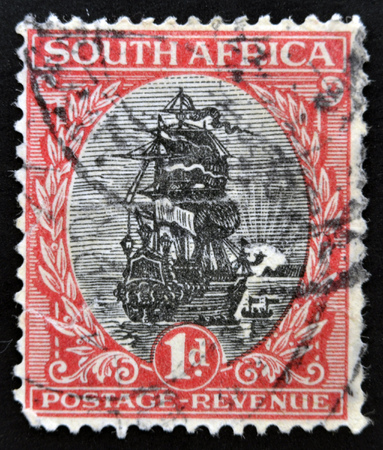 SOUTH AFRICA - CIRCA 1926: A stamp printed in South Africa shows Dromedaris (Van Riebeecks ship), circa 1926.