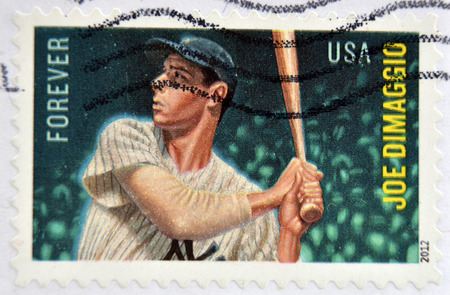 UNITED STATES OF AMERICA - CIRCA 2012: A stamp printed in USA shows Joe Dimaggio, circa 2012
