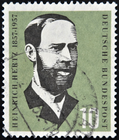 GERMANY - CIRCA 1957: a stamp printed in Germany shows Heinrich Hertz, Electric Flux Lines, Discovery of Electromagnetic Waves, circa 1957