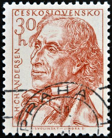 the narrator: CZECHOSLOVAKIA - CIRCA 1955: stamp printed in Czechoslovakia shows Hans Christian Andersen, circa 1955 Editorial