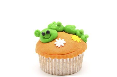 funny cupcake with caterpillar photo