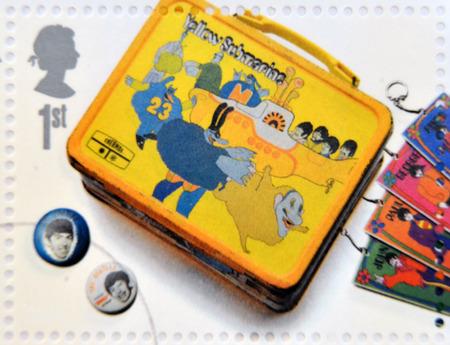 memorabilia: UNITED KINGDOM - CIRCA 2007: A stamp printed in Great Britain shows the Beatles memorabilia, circa 2007.