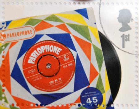 memorabilia: UNITED KINGDOM - CIRCA 2007: A stamp printedin Great Britain shows The Beatles Vinyl Record, circa 2007.