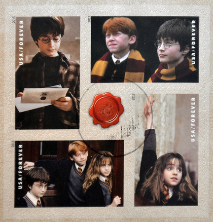granger: UNITED STATES OF AMERICA - CIRCA 2013: Stamps printed in USA dedicated to Harry Potter shows various scenes from his movies, circa 2013