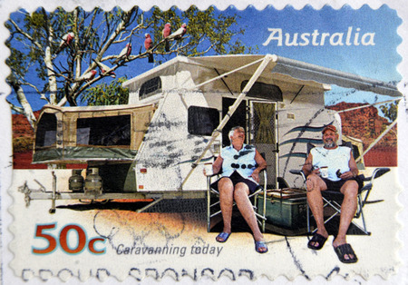 AUSTRALIA - CIRCA 2007: A stamp printed in australia shows Family enjoying a caravan, caravanning today, circa 2007