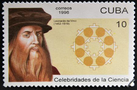 leonardo da vinci: CUBA - CIRCA 1996: a  stamp printed in Cuba shows an image of Leonardo da Vinci, circa 1996.  Editorial