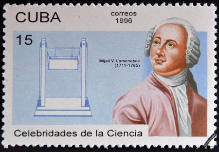 descubridor: CUBA - CIRCA 1996: un sello impreso en Cuba muestra Mikhail Vasilievich Lomonosov, descubridor de la atm�sfera de Venus, alrededor del a�o 1996