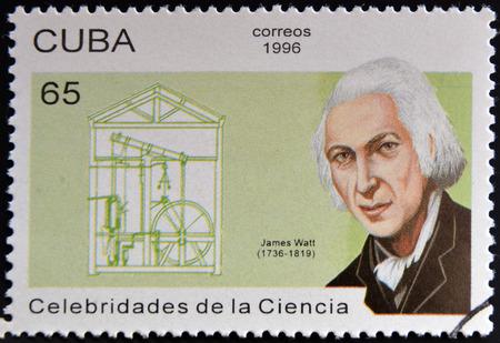 watt: CUBA - CIRCA 1996: a  stamp printed in Cuba shows an image of James Watt, circa 1996.