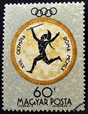 HUNGARY - CIRCA 1960: A stamp printed in Hungary shows Javelin, devoted to the Olympic games in Rome, circa 1960