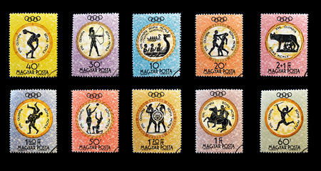 HUNGARY - CIRCA 1960: Stamps printed in Hungary devoted to the Olympic games in Rome, circa 1960