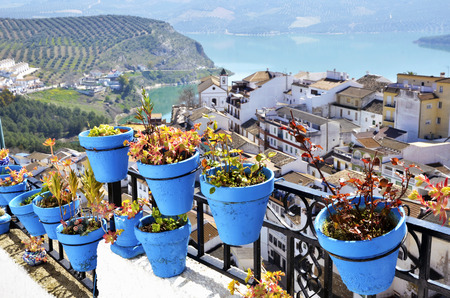 Flowerpots in Iznajar, an Andalusian town  photo