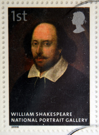 UNITED KINGDOM - CIRCA 2006: A stamp printed in Great Britain dedicated to the national portrait gallery, shows William Shakespeare attributed to John Taylor, circa 2006 Editorial