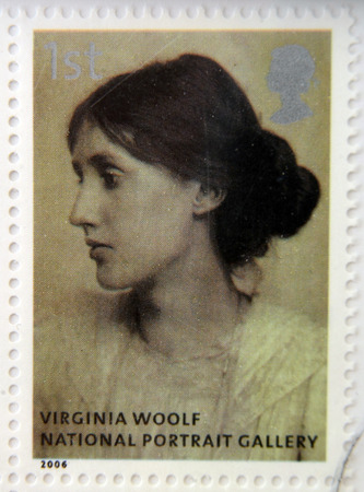 modernist: UNITED KINGDOM - CIRCA 2006: A stamp printed in Great Britain dedicated to the national portrait gallery, shows Virginia Woolf by George Charles Beresford, circa 2006