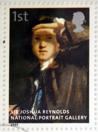 reynolds: UNITED KINGDOM - CIRCA 2006: A stamp printed in Great Britain dedicated to the national portrait gallery, shows Sir Joshua Reynolds by Sir Joshua Reynolds, circa 2006
