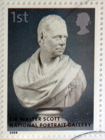 sir walter scott: UNITED KINGDOM - CIRCA 2006: A stamp printed in Great Britain dedicated to the national portrait gallery, shows Walter Scott by Sir Francis Chantry, circa 2006