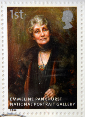 georgina: UNITED KINGDOM - CIRCA 2006: A stamp printed in Great Britain dedicated to the national portrait gallery, shows Emmeline Pankhurst by Georgina Brakenbury, circa 2006