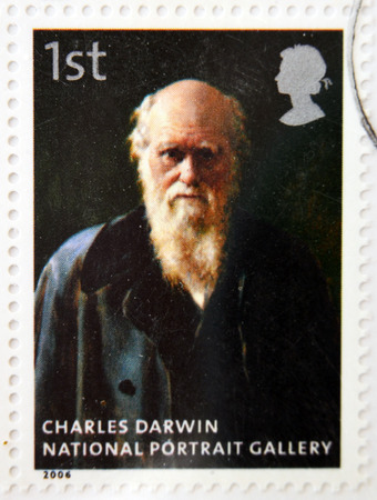 darwin: UNITED KINGDOM - CIRCA 2006: A stamp printed in Great Britain dedicated to the national portrait gallery, shows Charles Darwin by John Collier, circa 2006 Editorial