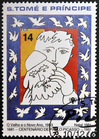 pablo: SAO TOME AND PRINCIPE - CIRCA 1981: A stamp printed in sao Tome shows the old and the new year by Pablo Picasso, circa 1981