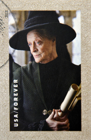 UNITED STATES OF AMERICA - CIRCA 2013: A stamp printed in USA dedicated to Harry Potter shows Prof. MInerva McGonagall, circa 2013