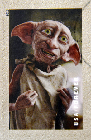 UNITED STATES OF AMERICA - CIRCA 2013: A stamp printed in USA dedicated to Harry Potter shows Dobby the House Elf, circa 2013
