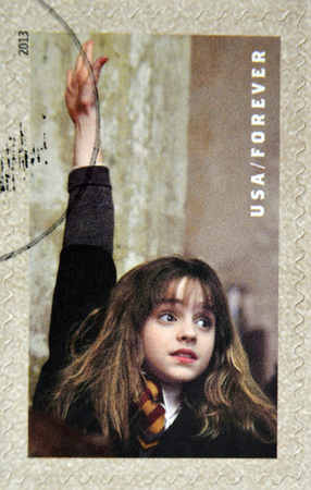 granger: UNITED STATES OF AMERICA - CIRCA 2013: A stamp printed in USA dedicated to Harry Potter shows Hermione Granger, circa 2013