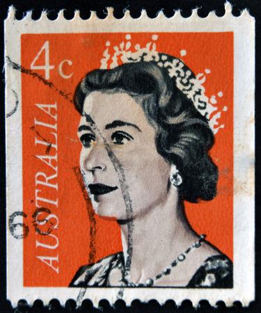 queen elizabeth ii: AUSTRALIA - CIRCA 1966: A Stamp printed in Australia shows the portrait of a Queen Elizabeth II, circa 1966