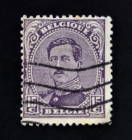 baudouin: BELGIUM - CIRCA 1919: A stamp printed in Belgium shows image of King Albert I, circa 1919