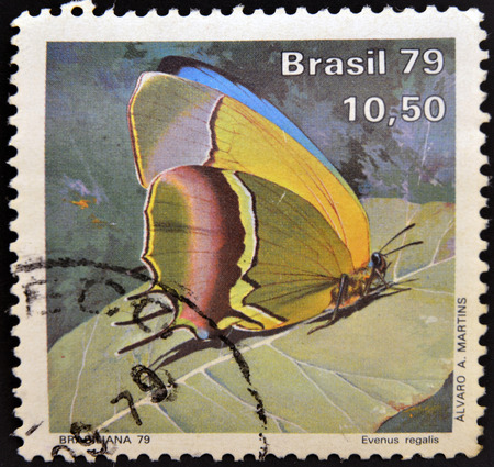 BRAZIL - CIRCA 1979: A stamp printed in Brazil shows a butterfly, evenus regalis, circa 1979.