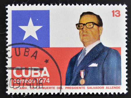 salvador allende: CUBA - CIRCA 1974: A stamp printed in Cuba shows Salvador Allende, circa 1974  Editorial