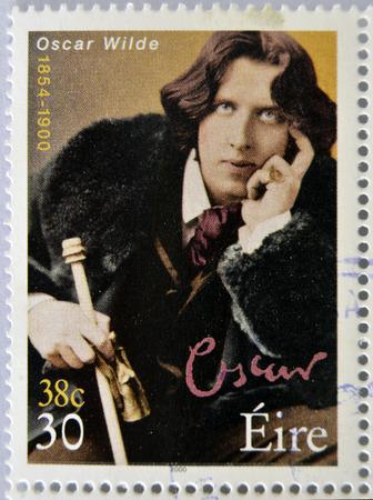 IRELAND - CIRCA 2000: a stamp printed in Ireland shows an image of Oscar Wilde, circa 2000.