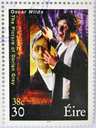 dorian: IRELAND - CIRCA 2000: a stamp printed in Ireland shows an image commemorative of The picture of Dorian Gray a novel by Oscar Wilde, circa 2000.