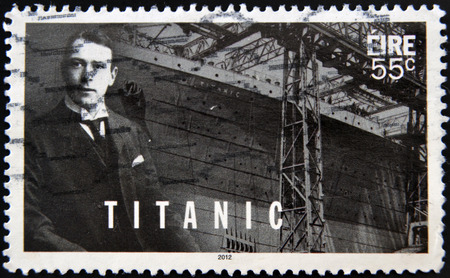 IRELAND - CIRCA 2012: a stamp printed in Ireland shows an image of Titanic, circa 2012.
