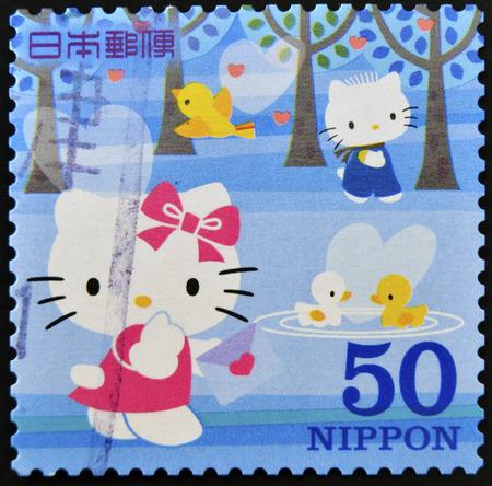 JAPAN - CIRCA 2000: A stamp printed in Japan shows Hello Kitty and Dear Daniel, circa 2000