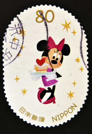 minnie mouse: JAPAN - CIRCA 2012: A stamp printed in Japan shows Minnie Mouse, circa 2012