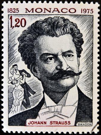 モナコ - 1975 年ごろ: オーストリア音楽の有名な作曲家ヨハン ・ シュトラウス、1975 年ごろのモナコ ショー イメージ肖像画で印刷されたスタンプで
