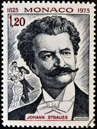 MONACO - CIRCA 1975: Un timbre imprimé à Monaco montre un portrait d'image du célèbre compositeur de musique autrichien Johann Strauss, vers 1975. Banque d'images - 27615240