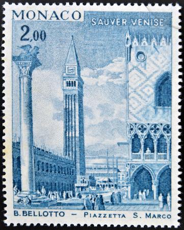 MONACO - CIRCA 1972: A stamp printed in Monaco shows view of St Marks Square (Piazza San Marco) in Venice by painter Bernardo Bellotto, circa 1972