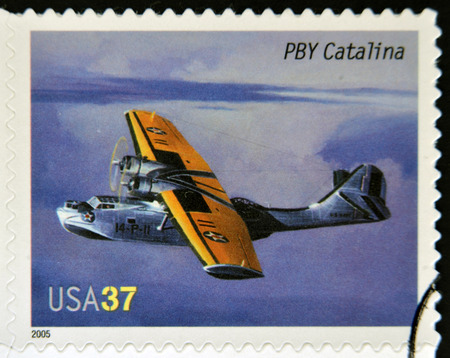 consolidated: UNITED STATES OF AMERICA - CIRCA 2005: A stamp printed in USA dedicated to advances in aviation, shows Consolidated PBY Catalina, circa 2005