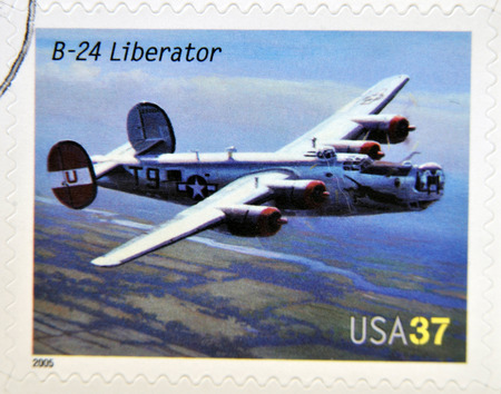 liberator: UNITED STATES OF AMERICA - CIRCA 2005: A stamp printed in USA dedicated to advances in aviation, shows Consolidated B-24 Liberator, circa 2005
