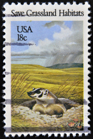 habitats: USA - CIRCA 1981: A stamp printed in United States of America shows Save Grassland habitats, circa 1981