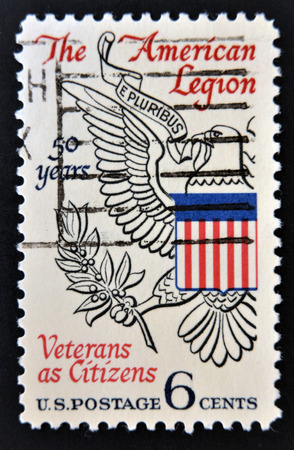 UNITED STATES OF AMERICA - CIRCA 1969: A Stamp printed in USA shows the Eagle from Great Seal of U.S., devoted to American Legion, circa 1969