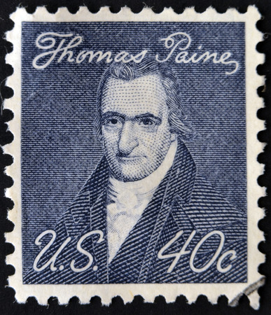 wesley: UNITED STATES OF AMERICA - CIRCA 1969: A stamp printed in USA shows portrait of Thomas Paine by John Wesley Jarvis, circa 1969  Editorial
