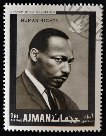AJMAN - CIRCA 1974: Stamp printed in Ajman in memory of Martin Luther King, Human Rights, circa 1974