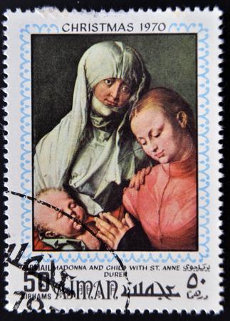 durer: AJMAN - CIRCA 1970: timbro stampato in Ajman mostra Madonna col bambino e S. Anna di Durer, circa 1970